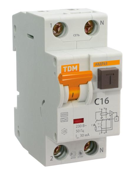 Дифференциальный автомат TDM-Electric АВДТ 63 B16 10мА SQ0202-0009 - фото 2