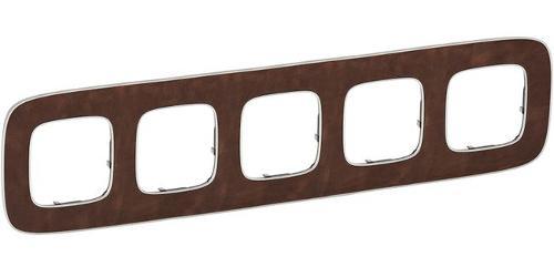 Купить со скидкой Valena Allure 754455 Рамка 5-постовая (универсальная, кожа) Legrand