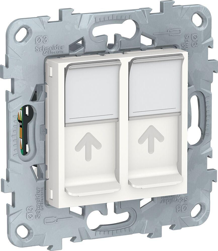 Розетка компьютерная Unica New (2xRJ45, cat.5e, UTP, под рамку, с/у, белая)  Schneider Electric NU542018 : Купить у официального дилера, цена, доставка  по всей России