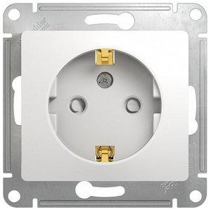 Фото Schneider Electric Glossa GSL000145 Розетка с заземляющим контактом и шторками (16 А, под рамку, скрытая установка, белая)