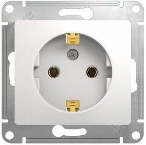 Фото Schneider Electric Glossa GSL000143 Розетка с заземляющим контактом (16 А, под рамку, скрытая установка, белая)