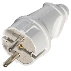 Фото Вилка электрическая прямая (с заземлением, 16 А, 250 В, белая)