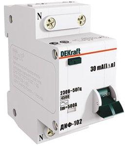 Фото DEKraft ДИФ-102 16002DEK Автоматический выключатель дифференциального тока однополюсный + нейтраль C10A 30мА (тип АС, 4.5кА)