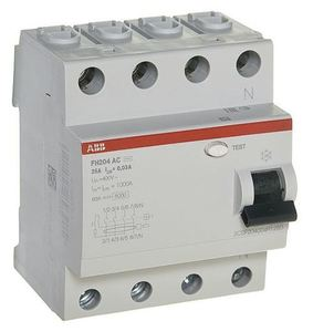 Фото ABB FH204 AC-25/0,03 2CSF204004R1250 Выключатель дифференциального тока четырехполюсный 25A 30мА (тип АС)