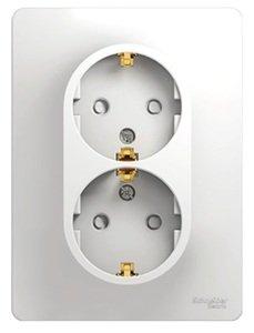 Фото Schneider Electric Glossa GSL000126 Розетка двойная с заземляющим контактом и шторками (16 А, в сборе, скрытая установка, белая)