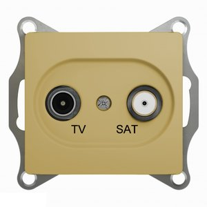 Фото Schneider Electric Glossa GSL000498 Розетка телевизионная проходная (TV+SAT, под рамку, скрытая установка, титан)