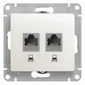 Фото Schneider Electric Glossa GSL000185KK Розетка компьютерная (2xRJ45, под рамку, скрытая установка, белая)