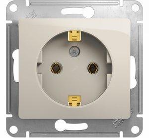 Фото Schneider Electric Glossa GSL000943 Розетка с заземляющим контактом (16 А, под рамку, скрытая установка, молоко)
