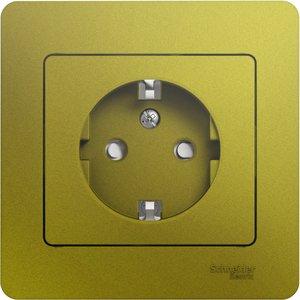 Фото Schneider Electric Glossa GSL001044 Розетка с заземляющим контактом (16 А, в сборе, скрытая установка, шторки, фисташковая)