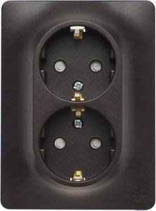 Фото Schneider Electric Glossa GSL000826 Розетка двойная с заземляющим контактом и шторками (16 А, в сборе, скрытая установка, шоколад)