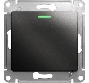 Фото Schneider Electric Glossa GSL000713 Выключатель одноклавишный с подсветкой (10 А, под рамку, скрытая установка, антрацит)