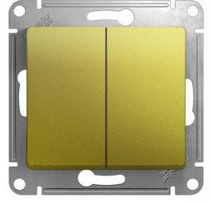 Фото Schneider Electric Glossa GSL001051 Выключатель двухклавишный (10 А, под рамку, скрытая установка, фисташковый)