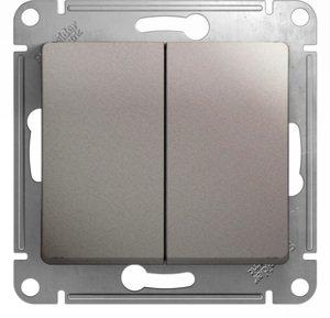 Фото Schneider Electric Glossa GSL001251 Выключатель двухклавишный (10 А, под рамку, скрытая установка, платина)
