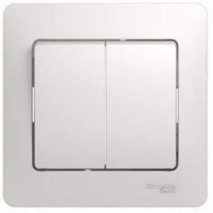 Фото Schneider Electric Glossa GSL000152 Выключатель двухклавишный (10 А, в сборе, скрытая установка, белый)