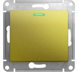 Фото Schneider Electric Glossa GSL001063 Переключатель одноклавишный с подсветкой (10 А, под рамку, скрытая установка, фисташковый)