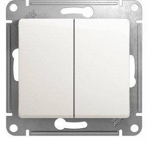 Фото Schneider Electric Glossa GSL000665 Переключатель двухклавишный (10 А, под рамку, скрытая установка, перламутр)