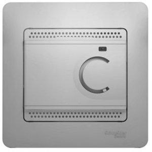 Фото Schneider Electric Glossa GSL000338 Термостат электронный для теплых полов +5…+50°С (10 А, 220 В, в сборе, скрытая установка, алюминий)
