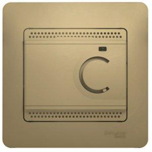 Фото Schneider Electric Glossa GSL000438 Термостат электронный для теплых полов +5…+50°С (10 А, 220 В, в сборе, скрытая установка, титан)