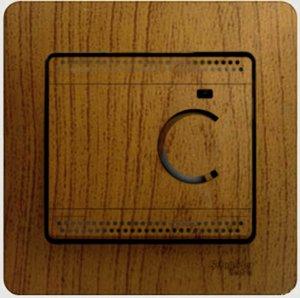 Фото Schneider Electric Glossa GSL000538 Термостат электронный для теплых полов +5…+50°С (10 А, 220 В, в сборе, скрытая установка, дуб)