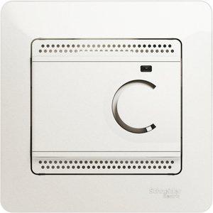 Фото Schneider Electric Glossa GSL000638 Термостат электронный для теплых полов +5…+50°С (10 А, 220 В, в сборе, скрытая установка, перламутр)