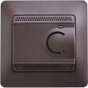 Фото Schneider Electric Glossa GSL000838 Термостат электронный для теплых полов +5…+50°С (10 А, 220 В, в сборе, скрытая установка, шоколад)