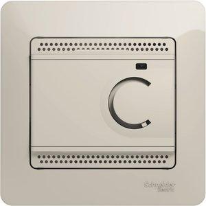 Фото Schneider Electric Glossa GSL000938 Термостат электронный для теплых полов +5…+50°С (10 А, 220 В, в сборе, скрытая установка, молоко)