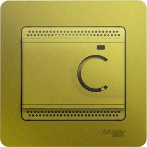 Фото Schneider Electric Glossa GSL001038 Термостат электронный для теплых полов +5…+50°С (10 А, 220 В, в сборе, скрытая установка, фисташковый)