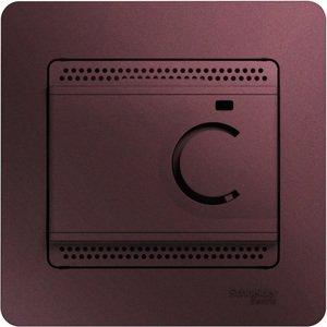 Фото Schneider Electric Glossa GSL001138 Термостат электронный для теплых полов +5…+50°С (10 А, 220 В, в сборе, скрытая установка, баклажан)