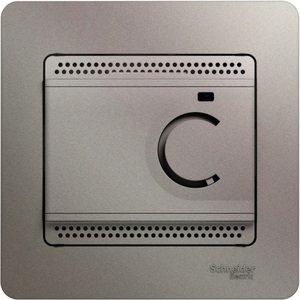 Фото Schneider Electric Glossa GSL001238 Термостат электронный для теплых полов +5…+50°С (10 А, 220 В, в сборе, скрытая установка, платина)