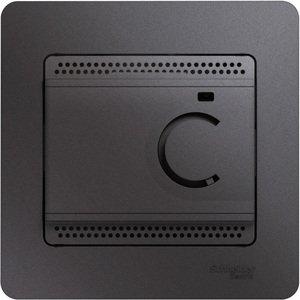 Фото Schneider Electric Glossa GSL001338 Термостат электронный для теплых полов +5…+50°С (10 А, 220 В, в сборе, скрытая установка, графит)