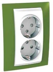 Фото Schneider Electric Unica Хамелеон MGU63.067.866 Розетка двойная с заземляющим контактом и шторками (16 А, в сборе, скрытая установка, белый/фисташковый)