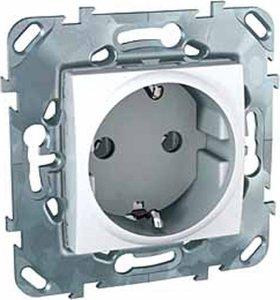 Фото Schneider Electric Unica MGU5.036.18ZD Розетка с заземляющим контактом (16 А, под рамку, скрытая установка, белая)