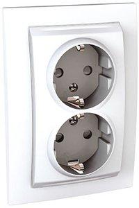 Фото Schneider Electric Unica MGU23.067.18D Розетка двойная с заземляющим контактом и шторками (16 А, в сборе, скрытая установка, белая)