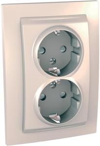 Фото Schneider Electric Unica MGU23.067.25D Розетка двойная с заземляющим контактом и шторками (16 А, в сборе, скрытая установка, бежевая)