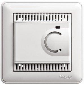 Фото Schneider Electric W59 TES-151-18 Термостат электронный для теплых полов +5…+50°С (10 А, 220 В, в сборе, скрытая установка, белый)