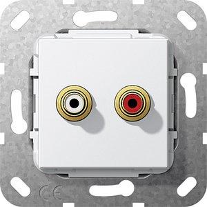 Фото Gira System55 563203 Розетка RCA (2хRCA, под рамку, скрытая установка, белая глянцевая)
