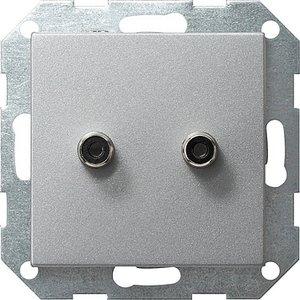 Фото Gira System55 040326 Крышка розетки аудио (2xRCA, алюминий)