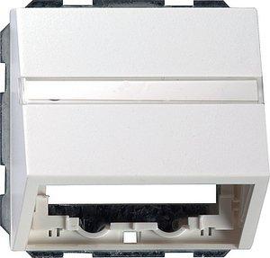 Фото Gira System55 087003 Крышка розетки с опорной пластиной (RJ45+RJ11, надпись, белая глянцевая)