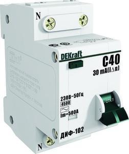 Фото DEKraft ДИФ-102 16007DEK Автоматический выключатель дифференциального тока однополюсный+N 40А (тип AC, 4.5 кА)