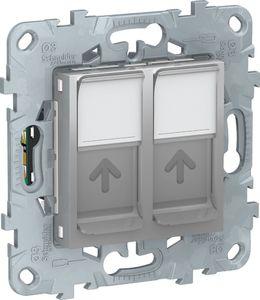 Фото Schneider Electric Unica New NU542030 Розетка компьютерная (2xRJ45, cat.5e, UTP, под рамку, скрытая установка, алюминий)
