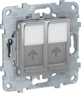 Фото Schneider Electric Unica New NU542430 Розетка компьютерная (2xRJ45, cat.6e, UTP, под рамку, скрытая установка, алюминий)