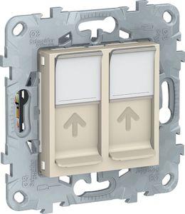 Фото Schneider Electric Unica New NU542444 Розетка компьютерная (2xRJ45, cat.6e, UTP, под рамку, скрытая установка, бежевая)