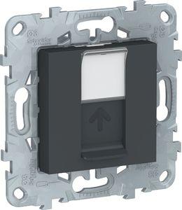 Фото Schneider Electric Unica New NU546154 Розетка компьютерная (RJ45, Keystone/Systimax, под рамку, скрытая установка, антрацит)