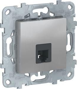 Фото Schneider Electric Unica New NU549230 Розетка телефонная (RJ11, под рамку, скрытая установка, алюминий)
