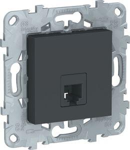Фото Schneider Electric Unica New NU549254 Розетка телефонная (RJ11, под рамку, скрытая установка, антрацит)