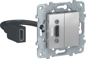 Фото Schneider Electric Unica New NU543030 Розетка видео (HDMI, под рамку, скрытая установка, алюминий)