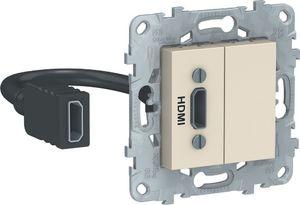 Фото Schneider Electric Unica New NU543044 Розетка видео (HDMI, под рамку, скрытая установка, бежевая)