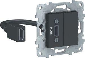 Фото Schneider Electric Unica New NU543054 Розетка видео (HDMI, под рамку, скрытая установка, антрацит)