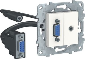 Фото Schneider Electric Unica New NU593218 Розетка комбинированная (VGA+Jack3.5mm, под рамку, скрытая установка, белая)