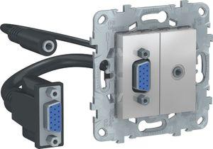 Фото Schneider Electric Unica New NU593230 Розетка комбинированная (VGA+Jack3.5mm, под рамку, скрытая установка, алюминий)